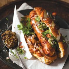 Taste Mag | Gourmet hot dog with red onion, chilli and coriander salsa @ http://taste.co.za/recipes/gourmet-hot-dog-with-red-onion-chilli-and-coriander-salsa/