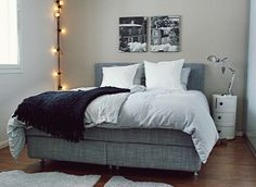 Ikea Arvkinsand Boxspring   love the fabric. We need to re upholster our boxspring for a more modern look!