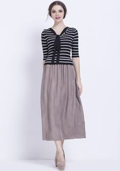 Black Half Sleeve Striped Sweater Contrast Grey Dress