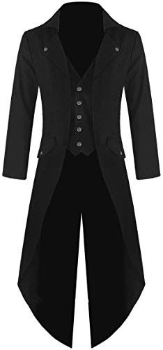 Beautyfine Mens Vintage Steampunk Jacket Tailcoat Overcoat Outwear Buttons Winter Warm Coat