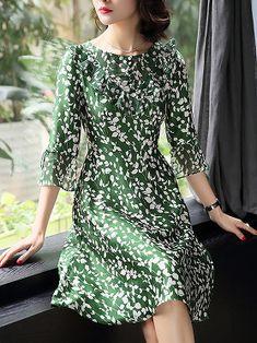 Casual O-Neck Flare Sleeve Print A-Line Dress Kleider Für Besondere Anlässe, 682b518eb4