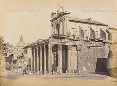 Foto storiche di Roma - Foro Romano. In primo piano il Tempio di Antonino e Faustina