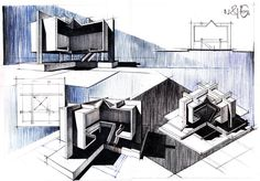 The name of the architect that designed this building Horia Creanga, one of the greatest Romania has ever seen . Architecture Concept Drawings, Revit Architecture, Roman Architecture, Rendering Techniques, Architectural Section, Architectural Sketches, Architecture Presentation Board, Plan Drawing, Perspective Drawing