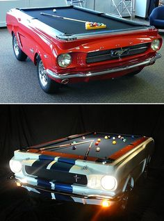 Seriously?!?!?  A '65 Mustang pool table?!?!?!  I will save every last penny to get me one of these for my man cave!!