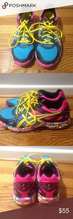 ASICS: LIKE NEW! Running/Training Shoes These vibrant ASICS, are like new, & only worn once! They are in perfect condition. They can be used for running, training, and even volleyball shoes! Asics Shoes Athletic Shoes