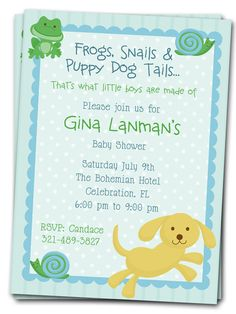 Chevron puppy or dog theme baby shower invitation by elsypaper frogs snails and puppy dog tails baby shower invitation printable invite for boys coordinating party printables available filmwisefo
