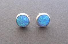 Opal stud earrings opal post  earrings silver by OliveliJewelry, $29.00