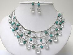 Triple Row Natural Chip Stone and Facet Glass Beads Dangle Necklace Earring Set