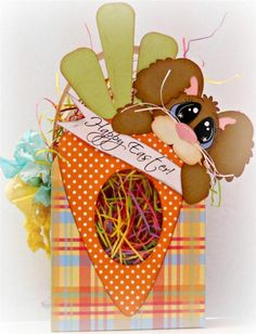 ELITE4U SCRAPPINWMN PREMADE HANDMADE SCRAPBOOK EASTER TREAT BOX PAPER PIECING