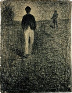Seurat, two men walking in a field