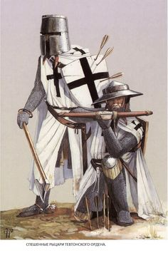 """The RitterBrudern - Brother Knight"".   These monastic Knights were the Elite of the Order. Their equipment was the best available of the time comparable with that of the best Knights of Western Europe. A White Jupon marked with a black cross distinguished the RitterBrudern from other troops in the Order's forces."