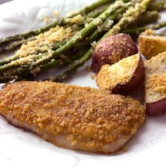 Sheet Pan Baked Parmesan Pork Chops Potatoes & Asparagus