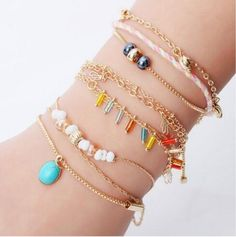 Hot 6 Styles Alloy For Lady Gold Color Bracelet Chain Jewelry Bead Leaves Pendant Pulseras Mujer Bijoux Femme Bohemian