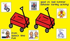 Speechie Freebies: Summer Good vs. Bad Behavior Sort! Pinned by SOS Inc. Resources. Follow all our boards at pinterest.com/sostherapy/ for therapy resources.