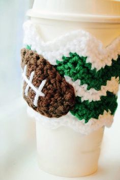 Team colors crochet coffee cozy by peapodaccessories on Etsy, $12.00