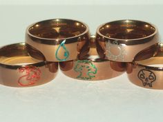 Magic: The Gathering Mana Symbol Engraved Stainless Steel Ring