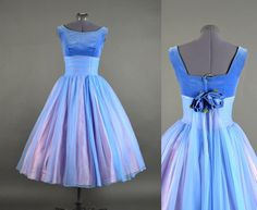 1950s Dress / chiffon full skirt dress / 50s by NodtoModvintage, $190.00