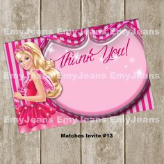 Barbie Thank You Card Digital File For Download Receive A