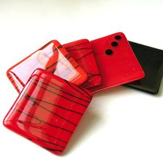 Fused Glass Coasters  Red Hot by nanettebevan on Etsy, $40.00
