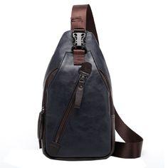 f7f3633b6bd5 Men Retro PU Leather Crossbody Bag Capacity Leisure Shoulder Chest Bag is worth  buying - NewChic