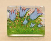 Iittala - Glass paperweight card - Heljä Liukko-Sundström - 1994 - Summer Flowers - Finland - Scandinavian design