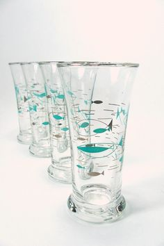 Libbey+Atomic+Fish+Glasses.++Turquoise+by+VintageVarietyValues,+$30.00