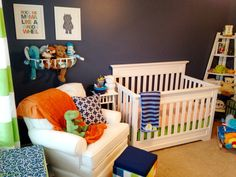 Blue, Orange and Green Nursery, prints and stuffed animal storage