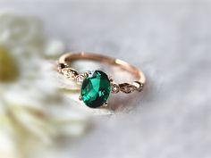 6x8mm Oval Emerald Ring Engagement Ring Gemstone Wedding Ring Anniversary Ring Diamond Engagement Ring 14k Rose Gold Ring Emerald Jewelry by InOurStar on Etsy https://www.etsy.com/listing/221561933/6x8mm-oval-emerald-ring-engagement-ring