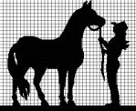 COWGIRL AND HER HORSE Graphghan Pattern - 2014 Crochet Patterns - crochet: Oh ❄ these personalized graphghan crochett are absolutely gorgeous! By marelha - LoveItSoMuch Cross Stitch Horse, Cross Stitch Animals, Cross Stitch Charts, Cross Stitch Patterns, Crochet Chart, Crochet Patterns, Knitting Patterns, Crochet Afghans, Crochet Horse