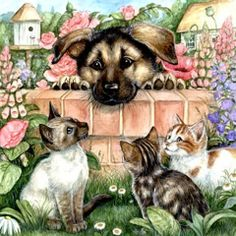 Cat's Paintings - The Cat in the Art of Painting and Drawing Animal Paintings, Animal Drawings, Illustrations, Illustration Art, Animals And Pets, Cute Animals, Decoupage, Street Art Photography, Cat Dog