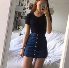 46 Elegant Denim Skirts Outfits Ideas is part of Denim skirt outfits - When it comes to fashion, denim is one of the most popular styles for both guys and gals Despite the […] Simple Outfits, Classy Outfits, Trendy Outfits, Cute Outfits, Fashion Outfits, Womens Fashion, Work Outfits, Back To School Outfits, Modern Outfits