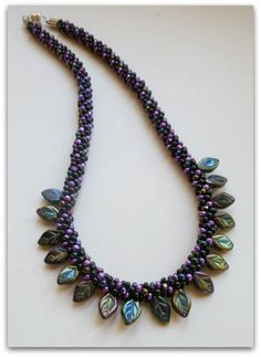 Kumihimo Beaded Necklace with Pressed Glass Leaves Kits available at www.whatabraid.com