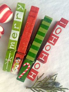 CHRISTMAS CLOTHESPINS hand painted magnetic pegs by SugarAndPaint