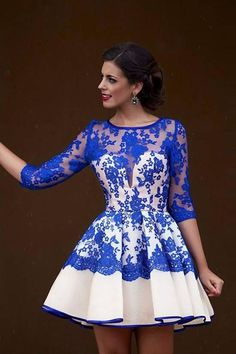 blue lace homecoming dresses, A-line homecoming dresses, 1/2 long sleeves homecoming dresses, short prom dresses, formal dresses, party dresses#SIMIBridal
