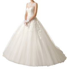 DAPENE® Women's Illusion Neckline Sweetheart Lace A Line Bride Wedding Dress * You can get additional details at the image link. (This is an affiliate link and I receive a commission for the sales)