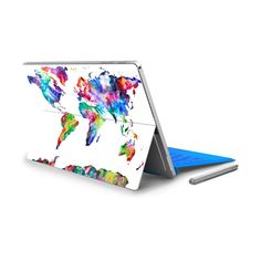 For Micro Surface Pro 4 Vinyl Back Full Decal Tablet Netbook Sticker World Map Print Skin Logo Cut Out Note Pattern NO.