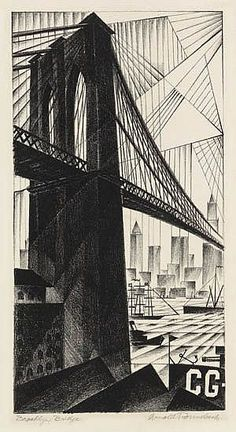 Arnold Ronnebeck (American, Brooklyn Bridge, 1925 Lithograph on laid paper x inches x - Available at 2018 May 4 American Art -. Brooklyn New York, Brooklyn Bridge, Mother Art, View Image, American Art, Vintage Posters, Printmaking, Cool Pictures, Fine Art