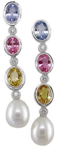 E1254 18K W/Gold Sapphire, Cultured Pearl and Diamond Earrings - The Judy Mayfield Collection ♥≻★≺♥