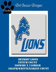 Detroit Lions Twin Size Blanket Crochet Graph Graphghan Pattern Word Chart with WRITTEN INSTRUCTIONS skein and stitch count by DelGuzzoDesignStudio on Etsy