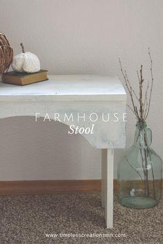 A Farmhouse Stool gets a Facelift   + Fall Roundup.   Timeless Creations, LLC