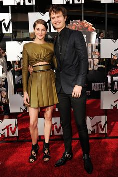 Shailene Woodley and Ansel Elgort at the MTV Movie Awards on April 13, 2014 at Nokia Theater LA