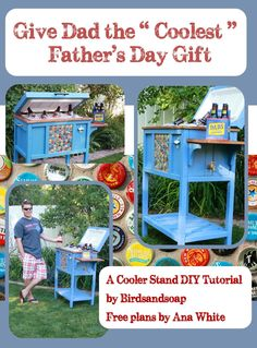 """Give your dad the the """"coolest"""" Father's Day gift, ever! DIY Cooler Stand Tutorial and FREE Plans from Ana White! Wood Cooler, Diy Cooler, Coolest Cooler, Beer Cooler, Cooler Cart, Poo Pourri, Cooler Stand, Cooler Box, Cool Fathers Day Gifts"""