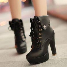 Womens Slim High Heels Shoes Lace Up Rivets Elegant Ankle Boots Big Size EU34-43