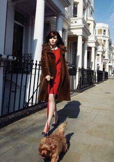 lily collins in paule ka dress & orla kiely coat #puppies | photo simon emmett