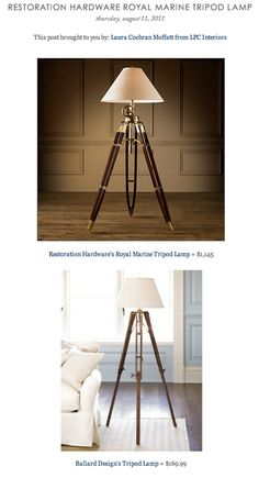 COPY CAT CHIC FIND: Restoration Hardware's Royal Marine Tripod Lamp VS Ballard Design's Tripod Lamp