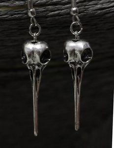 Wicca Raven Skull Earrings Hummingbird Bird Crow Goth Statement Antique Silver #jewelry #eBay