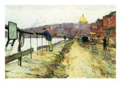 Charles River and Beacon Hill Premium Poster by Childe Hassam at Art.com