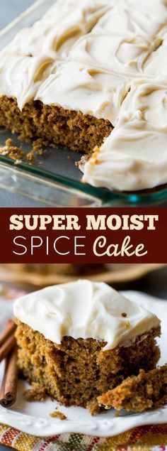 Homemade and super moist spice cake with tangy cream cheese frosting. Such an ea… Homemade and super moist spice cake with tangy cream cheese frosting. Such an easy recipe packed with TONS of flavor! Brownie Desserts, Oreo Dessert, Coconut Dessert, Mini Desserts, Fall Desserts, Just Desserts, Delicious Desserts, Coconut Cakes, Lemon Cakes