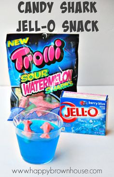Candy Shark Jello Snack Cups--perfect for an easy summer treat recipe idea during Shark Week, a pirate birthday party, or and ocean learning theme.