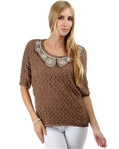 Brown Crochet Dolman Sleeve Blouse with Pearl Collar